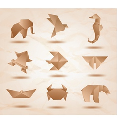 Origami kraft animals vector