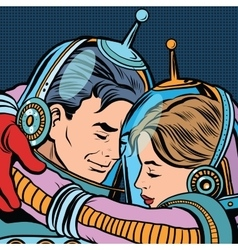 Retro love couple astronauts man woman vector