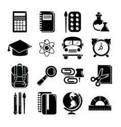 School education icons set simple style vector