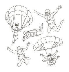 Set of parachuter vector