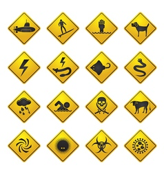 Warning signs for dangers in sea and rivers vector