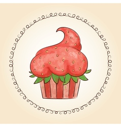 Watercolor cupcake look like strawberry vector