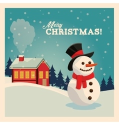Snowman cartoon merry christmas design vector
