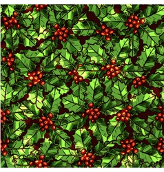 Christmas pattern with holly vector