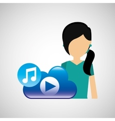 cartoon girl green shirt music cloud app vector image