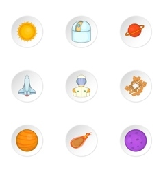 Outer space icons set cartoon style vector