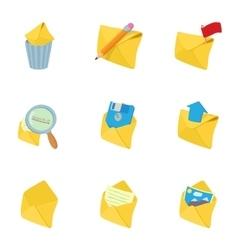 E-mail icons set cartoon style vector