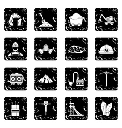 Miner icons set vector
