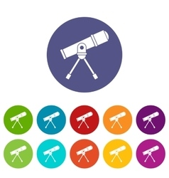 Space telescope set icons vector
