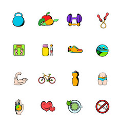 Healthy lifestyle icons set cartoon vector