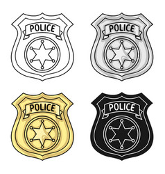 Police officer badge icon in cartoon style vector
