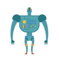 humanoid robot cyborg isolated electronic iron vector image
