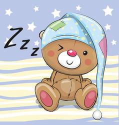 sleeping cute teddy bear vector image