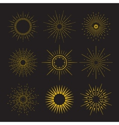 9 Art deco vintage sunbursts collection with vector image