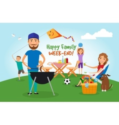 Family picnic bbq party vector