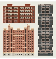 Buildings set with european block houses vector