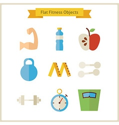 Flat fitness and dieting objects set vector