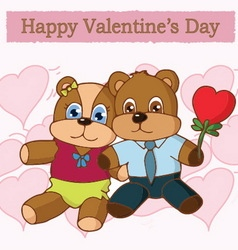 Cute couple bear in love vector