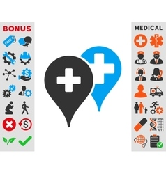 Medical map markers icon vector