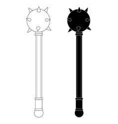 Medieval knight mace contour silhouette vector