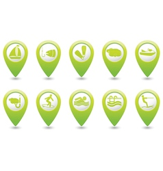 Set of 10 sport green map pointer vector