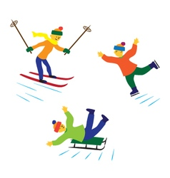 Children with ice skates skis and sledges vector