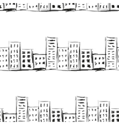 Urban line landscape ink imitation drawing on a vector image