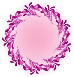 Pink round ornamental framefloral frame vector