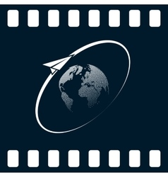 Airplane fly around the planet Earth Logo vector image vector image