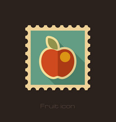Apple flat stamp fruit vector