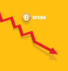 Bitcoin market crash graph on orabge vector