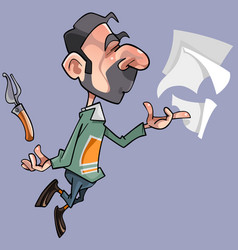 Cartoon male poet with sheets and pen pen vector