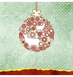 Christmas deer bauble card vector image vector image