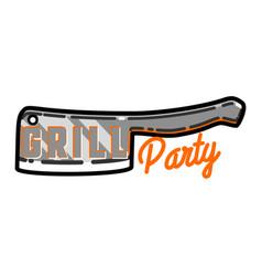 color vintage grill party emblem vector image vector image