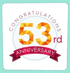 Colorful polygonal anniversary logo 3 053 vector