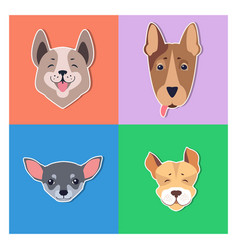 cute dogs muzzles cartoon flat icons vector image vector image