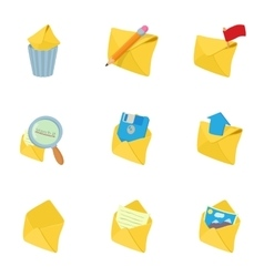 E-mail icons set cartoon style vector