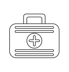 First aid case medical emergency thin line vector