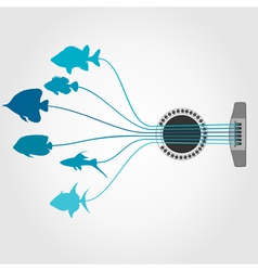 Fish a guitar vector image