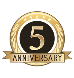 Five year anniversary badge vector