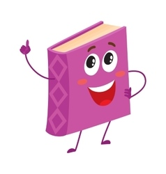 Funny purple book character pointing up with index vector image vector image