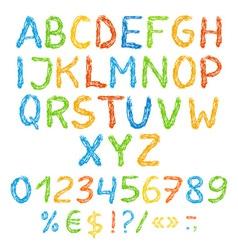 Grunge colorful english alphabet with symbols vector image