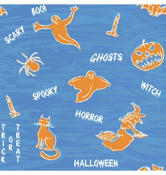 Halloween silhouettes pattern with text vector image vector image