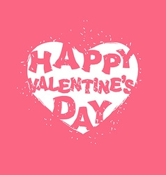 Happy valentines day logo white heart on pink vector