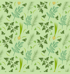 Herbs seamless pattern parsley dill razmarin vector