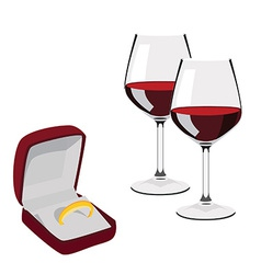 Jewellery box with ring and wineglasses vector image vector image