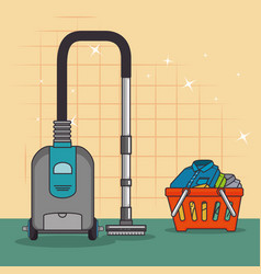 Laundry basket and cleaner vacuum icon vector