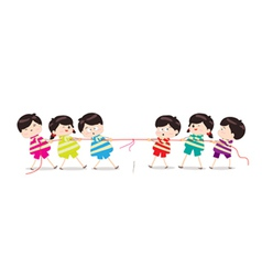 Little kids playing tug of war vector