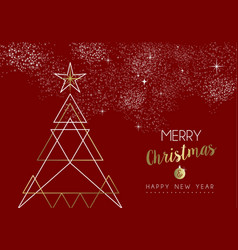 merry christmas happy new year deco tree outline vector image vector image
