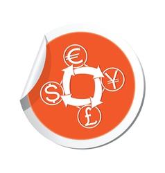money exchange icon orange label vector image